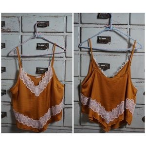 Free People Tops - Free People Your Eyes Lace Trim Satin Camisole